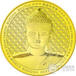 SHAKYAMUNI BUDDHA World Heritage 1/4 Oz Moneta Oro Bhutan 2015