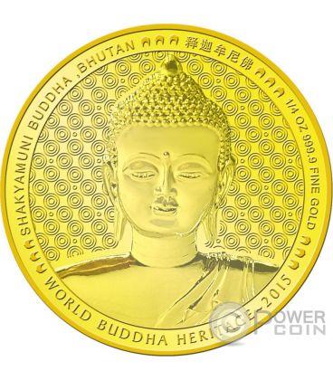 SHAKYAMUNI BUDDHA World Heritage 1/4 Oz Gold Coin Bhutan 2015