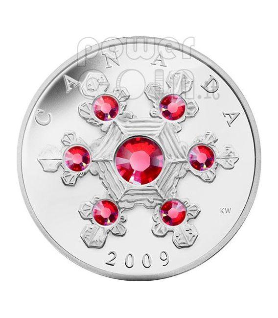 SNOWFLAKE ROSA Moneta Argento Swarovski 20$ Canada 2009