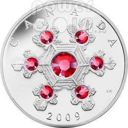 SNOWFLAKE PINK Moneda Plata Swarovski 20$ Canada 2009