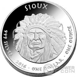 SOUTH DAKOTA BUFFALO Sioux Native State 1 Oz Silver Coin 1$ Dollar Jamul 2016
