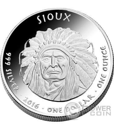 SOUTH DAKOTA BUFFALO Sioux Riserva Indiana 1 Oz Moneta Argento 1$ Dollaro Jamul 2016