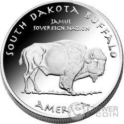 SOUTH DAKOTA BUFFALO Sioux Native State 1 Oz Moneda Plata 1$ Dollar Jamul 2016