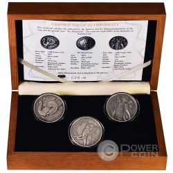 MAMMOTH PRESTIGE Set Real Eyes 3x1 Oz Silver Coin 1000 Francs Burkina Faso 2015