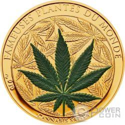 MARIHUANA Cannabis Sativa Leaf Famous Plants Smelling Монета 100 Франков Бенин 2010