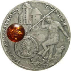 GDANSK Amber Route Road Silber Münze 1$ Niue 2008