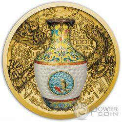 QING DYNASTY VASE Real Porcelain Gold Coin 100$ Niue 2016