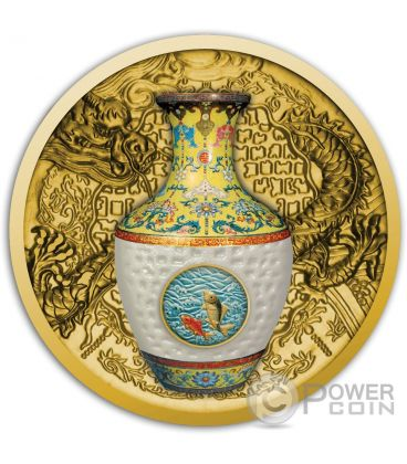 QING DYNASTY VASE Vaso Porcellana Moneta Oro 100$ Niue 2016