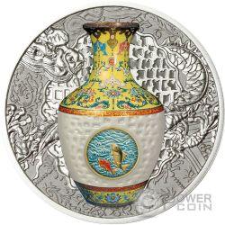 QING DYNASTY VASE Vaso Porcellana 1 oz Moneta Argento 1$ Niue 2016