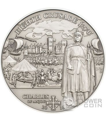 CRUSADE 8 Charles of Anjou Silver Coin 5$ Cook Islands 2016