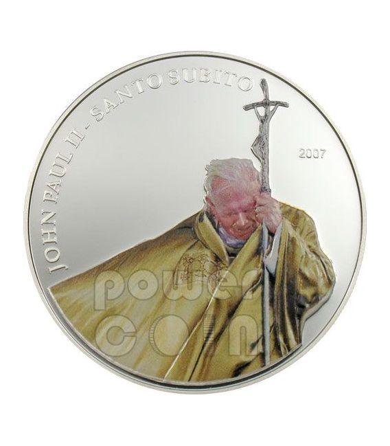 SANTO SUBITO Pope John Paul II Silver Coin 1$ Palau 2007