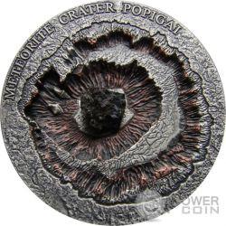METEORITE CRATER POPIGAI Meteor Silver Coin 1$ Niue 2016