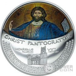 CHRIST PANTOCRATOR Mosaic Convex 1 Oz Silver Coin 5$ Cook Islands 2016
