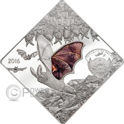 THE BAT Animals In Glass Glasswing Moneda Plata 10$ Palau 2016