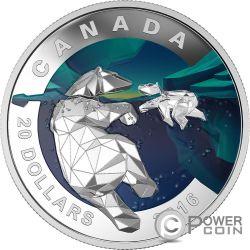 POLAR BEAR Geometry In Art Dimensional Design Silver Coin 20$ Canada 2016