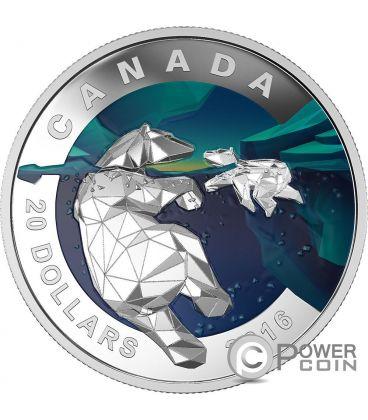POLAR BEAR Geometry In Art Orso Polare Moneta Argento 20$ Canada 2016