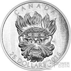 GROTESQUE WILD GREEN MAN Sculptural Art of Parliament Silver Coin 25$ Canada 2016