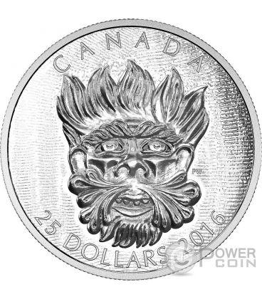 GROTESQUE WILD GREEN MAN Sculptural Art of Parliament Moneta Argento 25$ Canada 2016