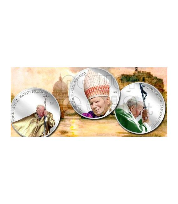 SANTO SUBITO Pope John Paul II Silber Münze 1$ Palau 2007