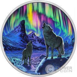 Northern Lights in the Moonlight AURORA DEL NORD Ologramma Moneta Argento 30$ Canada 2016