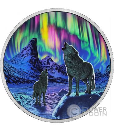Northern Lights in the Moonlight AURORA DEL NORD Ologramma Moneta Argento 30$ Canada 2016