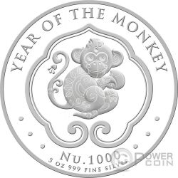 LUNAR MONKEY 5 Oz Silver Coin 1000 Nu Bhutan 2016
