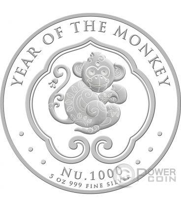 LUNAR MONKEY Scimmia 5 Oz Moneta Argento 1000 Nu Bhutan 2016