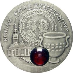 ELBLAG Amber Route Road Silver Coin 1$ Niue 2009