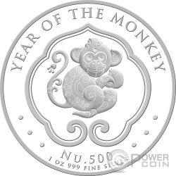 LUNAR MONKEY 1 Oz Серебро Монета 500 Nu Бутан 2016