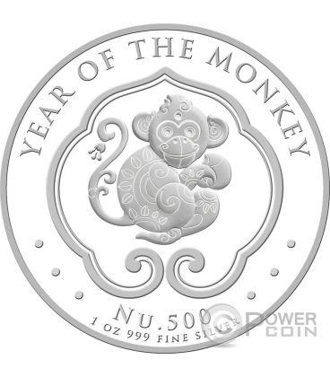LUNAR MONKEY 1 Oz Silver Coin 500 Nu Bhutan 2016
