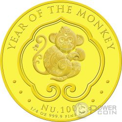 LUNAR MONKEY Gold Coin 1000 Nu Bhutan 2016