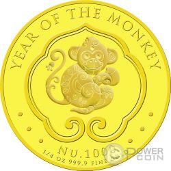 LUNAR MONKEY Moneda Oro 1000 Nu Bhutan 2016