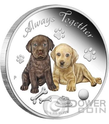 ALWAYS TOGETHER Man Best Friend Puppies Silver Coin 50 Cents Tuvalu 2016
