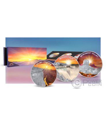 SUN IN SPLENDOUR Grand Canyon Niagara Falls Monument Valley Set Moneta Argento 1$ Fiji 2016
