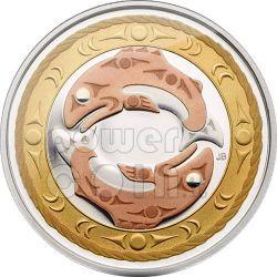 SALMONE REALE Cerchio Della Vita Moneta Argento 3$ Canada 2010