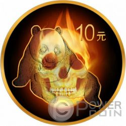 BURNING PANDA SKULL Fire Black Ruthenium Gold 1 Oz Silver Coin 10 Yuan China 2015