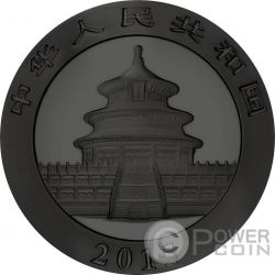 BURNING PANDA SKULL Fuoco Nera Rutenio 1 Oz Moneta Argento 10 Yuan Cina 2015