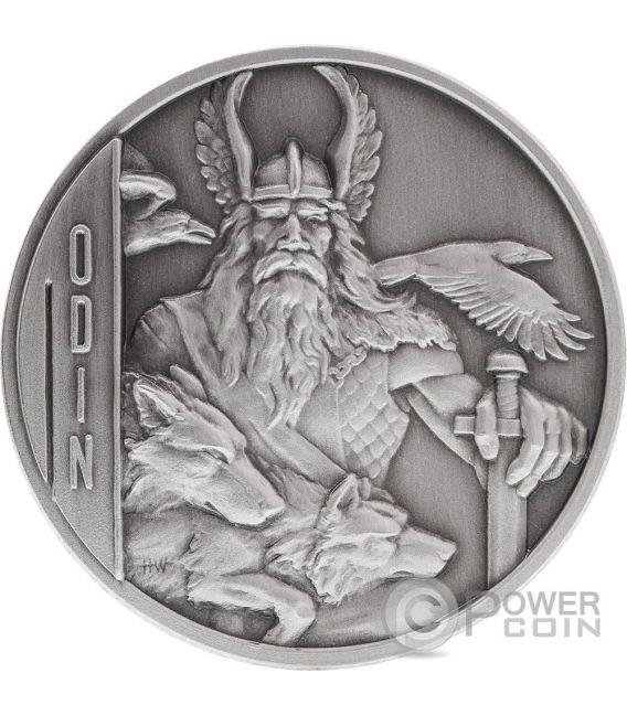ODIN Norse Gods Odino Alti Rilievi Moneta Argento 2 Oz 5$ Niue 2016