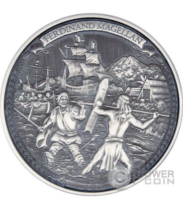 FERDINAND MAGELLAN Ferdinando Magellano Journeys Of Discovery 2 oz Moneta Argento 5$ Niue 2016