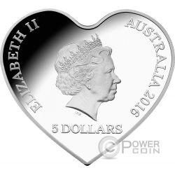 WITH LOVE Heart Shaped Moneda Plata 5$ Australia 2016