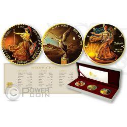 OUNCE OF ART Britannia Libertad Walking Liberty Set 3 x 1 oz Silber Münze United Kingdom Mexico US Mint 2015