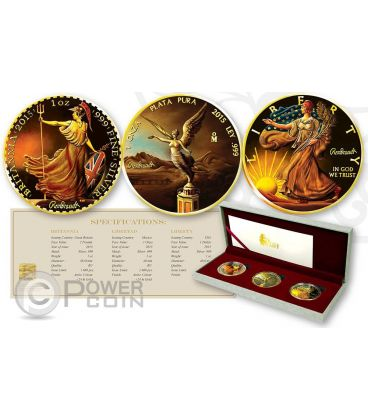 OUNCE OF ART Britannia Libertad Walking Liberty Set 3 x 1 oz Moneta Argento Regno Unito Messico US Mint 2015