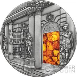 AMBER ROOM Masterpieces In Stone Catherine Palace High Relief 3 Oz Silver Coin 10$ Fiji 2015