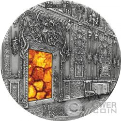AMBER ROOM Masterpieces In Stone Catherine Palace High Relief 3 Oz Moneda Plata 10$ Fiji 2015