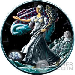 OUNCE OF SPACE Liberty Walking On Moon Luna 1 Oz Moneta Argento 1$ US Mint 2016
