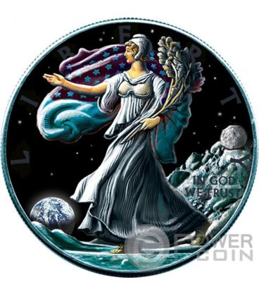 OUNCE OF SPACE Liberty Walking On Moon 1 Oz Silver Coin 1$ US Mint 2016
