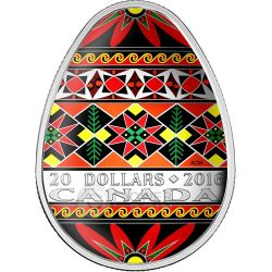 TRADITIONAL UKRAINIAN PYSANKA Easter Colored Egg Shape Folk Art 1 Oz Silver Coin 20$ Canada 2016