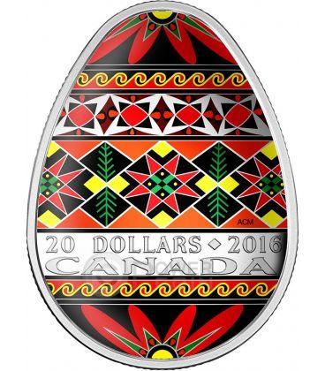 TRADITIONAL UKRAINIAN PYSANKA Easter Colored Egg Shape Folk Art 1 Oz Silver Coin 20$ Canada 2016