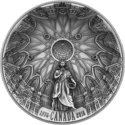 THE LIBRARY OF PARLIAMENT Concave Shape Ultra High Relief Antique Finish Silver Coin 25$ Canada 2016