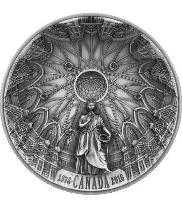 THE LIBRARY OF PARLIAMENT Biblioteca Del Parlamento Concava Alti Rilievi Anticata Moneta Argento 25$ Canada 2016